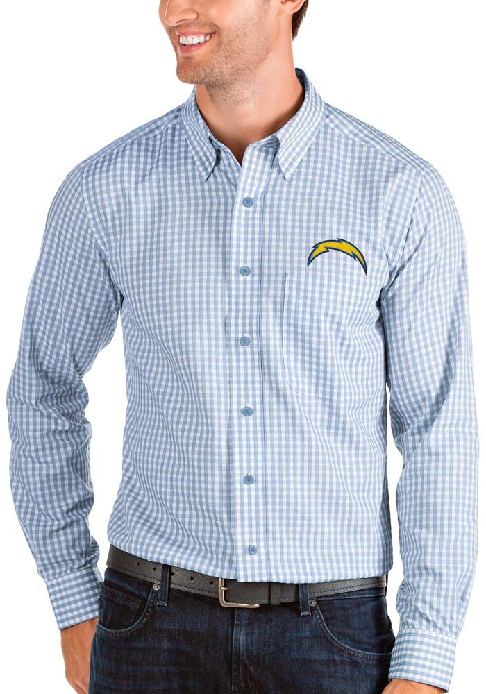Antigua Los Angeles Chargers Mens Blue Structure Long Sleeve Dress Shirt - Image 1