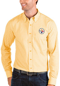 Pittsburgh Steelers Antigua Structure Dress Shirt - Gold
