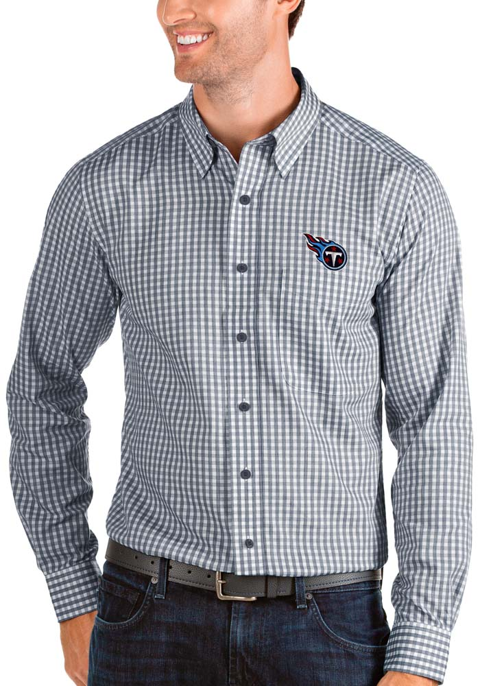 Antigua Tennessee Titans Mens Navy Blue Structure Long Sleeve Dress Shirt - Image 1