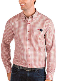 New England Patriots Antigua Structure Dress Shirt - Red