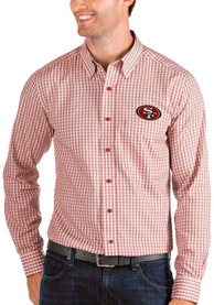 San Francisco 49ers Antigua Structure Dress Shirt - Red