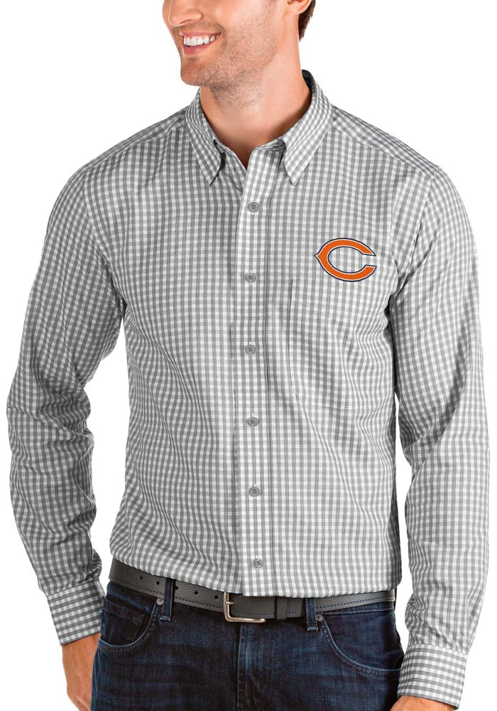 Antigua Chicago Bears Mens Grey Structure Long Sleeve Dress Shirt - Image 1