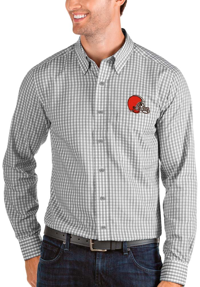Antigua Cleveland Browns Mens Grey Structure Long Sleeve Dress Shirt - Image 1