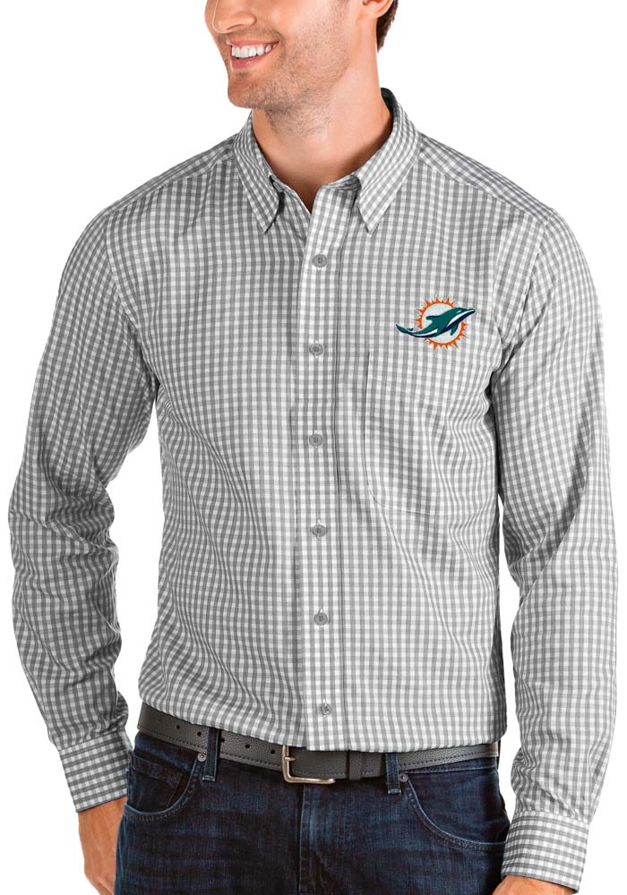Antigua Miami Dolphins Mens Grey Structure Long Sleeve Dress Shirt - Image 1
