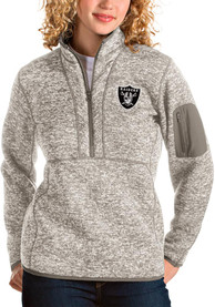 Las Vegas Raiders Womens Antigua Fortune 1/4 Zip Pullover - Oatmeal