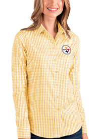 Pittsburgh Steelers Womens Antigua Structure Dress Shirt - Gold