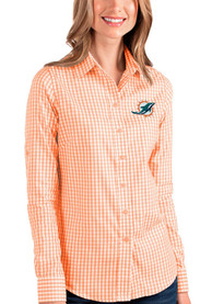 Miami Dolphins Womens Antigua Structure Dress Shirt - Orange