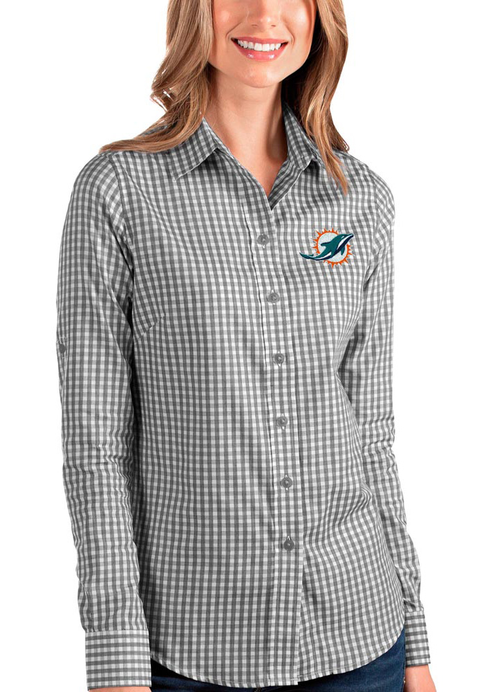 Antigua Miami Dolphins Womens Structure Long Sleeve Black Dress Shirt - Image 1