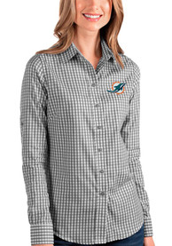 Miami Dolphins Womens Antigua Structure Dress Shirt - Black