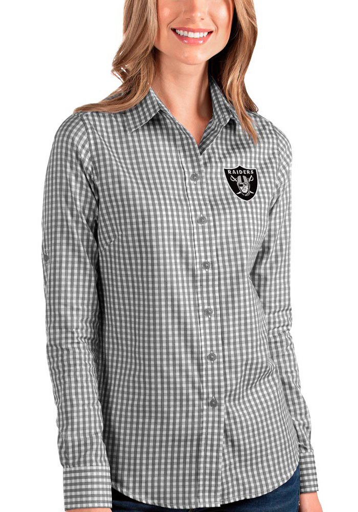 Antigua Las Vegas Raiders Womens Structure Long Sleeve Black Dress Shirt - Image 1