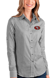 San Francisco 49ers Womens Antigua Structure Dress Shirt - Black