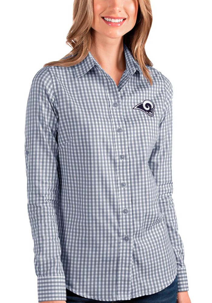 Antigua Los Angeles Rams Womens Structure Long Sleeve Navy Blue Dress Shirt - Image 1