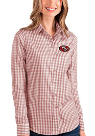 San Francisco 49ers Womens Antigua Structure Dress Shirt - Red