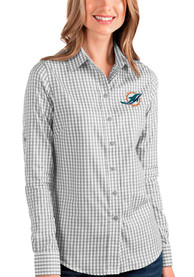 Miami Dolphins Womens Antigua Structure Dress Shirt - Grey