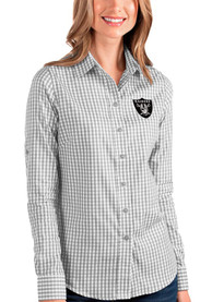 Las Vegas Raiders Womens Antigua Structure Dress Shirt - Grey
