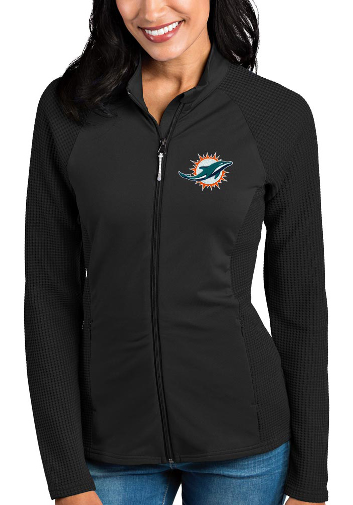 Antigua Miami Dolphins Womens Black Sonar Light Weight Jacket - Image 1