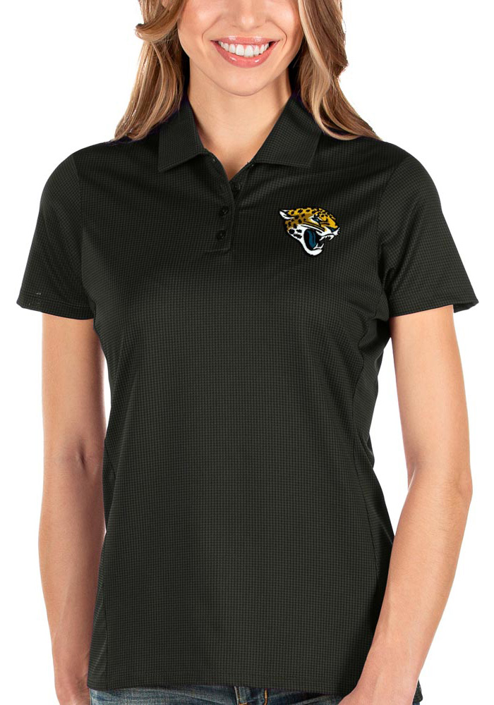 Antigua Jacksonville Jaguars Womens Black Balance Short Sleeve Polo Shirt - Image 1
