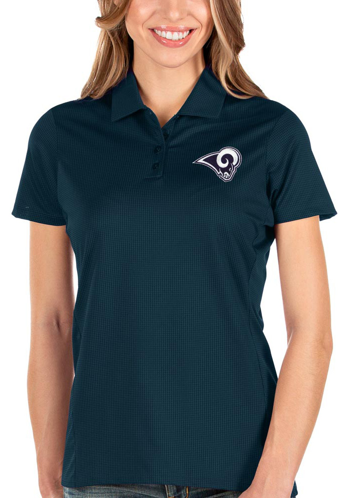 Antigua Los Angeles Rams Womens Navy Blue Balance Short Sleeve Polo Shirt - Image 1
