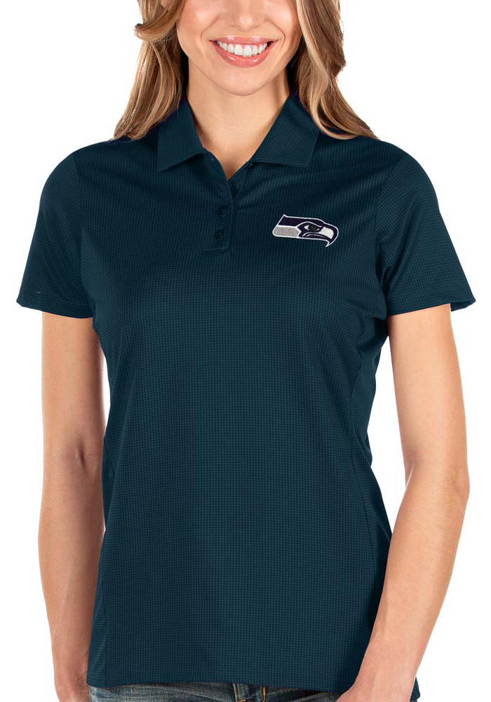 Antigua Seattle Seahawks Womens Navy Blue Balance Short Sleeve Polo Shirt - Image 1
