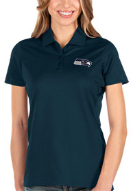 Seattle Seahawks Womens Antigua Balance Polo Shirt - Navy Blue