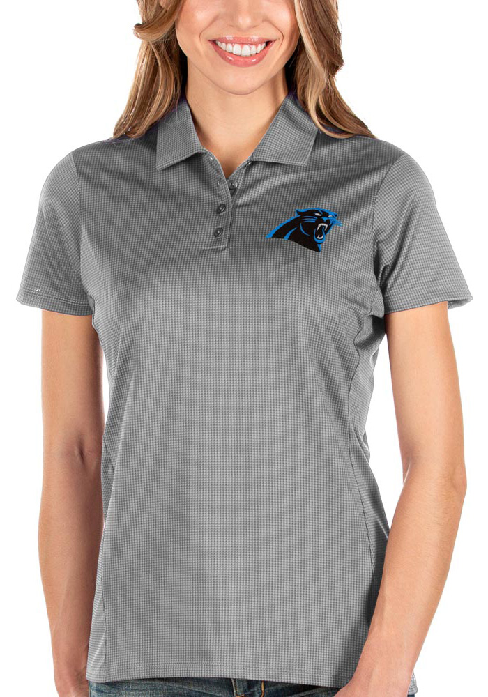 Antigua Carolina Panthers Womens Grey Balance Short Sleeve Polo Shirt - Image 1