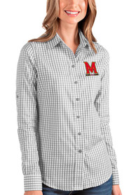 Maryland Terrapins Womens Antigua Structure Dress Shirt - Grey