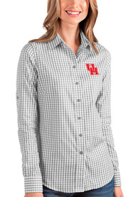 Houston Cougars Womens Antigua Structure Dress Shirt - Grey