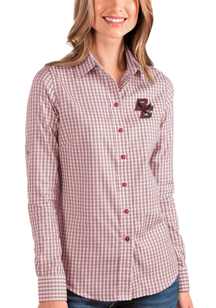 Antigua Boston College Eagles Womens Structure Long Sleeve Red Dress Shirt - Image 1
