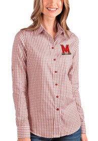 Maryland Terrapins Womens Antigua Structure Dress Shirt - Red