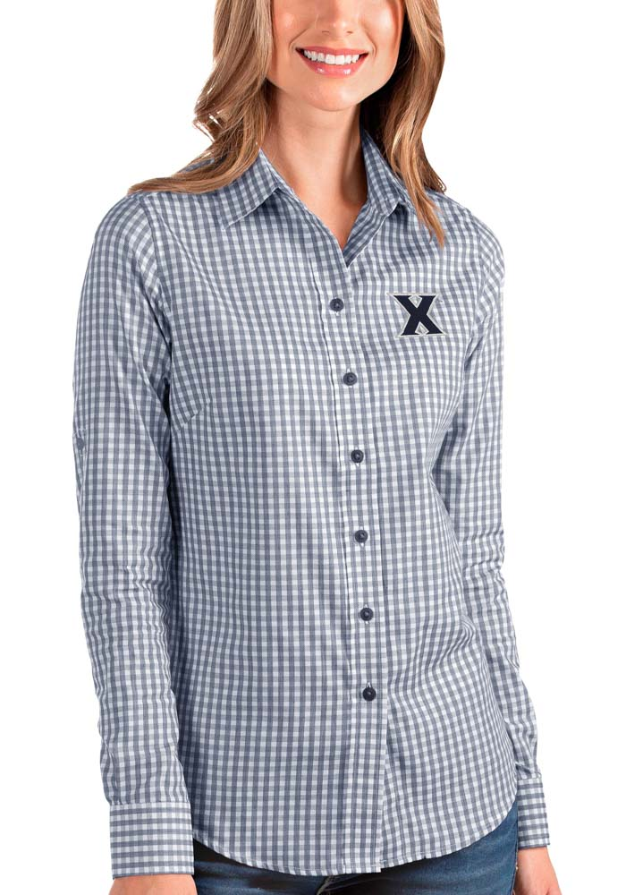 Antigua Xavier Musketeers Womens Structure Long Sleeve Navy Blue Dress Shirt - Image 1