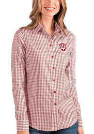 Indiana Hoosiers Womens Antigua Structure Dress Shirt - Red