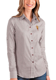 Arizona State Sun Devils Womens Antigua Structure Dress Shirt - Maroon