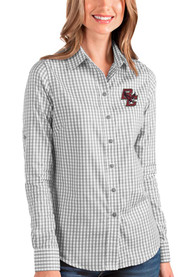 Boston College Eagles Womens Antigua Structure Dress Shirt - Grey