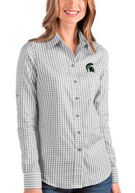 Michigan State Spartans Womens Antigua Structure Dress Shirt - Grey