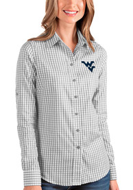 West Virginia Mountaineers Womens Antigua Structure Dress Shirt - Grey