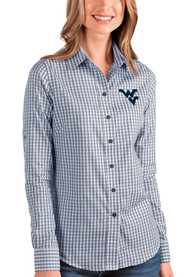 West Virginia Mountaineers Womens Antigua Structure Dress Shirt - Navy Blue