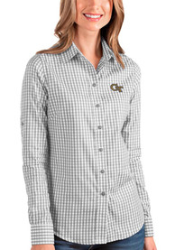 GA Tech Yellow Jackets Womens Antigua Structure Dress Shirt - Grey