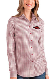 Arkansas Razorbacks Womens Antigua Structure Dress Shirt - Red