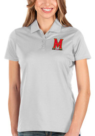 Maryland Terrapins Womens Antigua Balance Polo Shirt - White