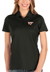 Virginia Tech Hokies Womens Antigua Balance Polo Shirt - Black
