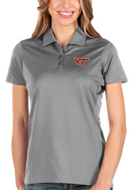 Virginia Tech Hokies Womens Antigua Balance Polo Shirt - Grey
