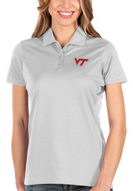 Virginia Tech Hokies Womens Antigua Balance Polo Shirt - White