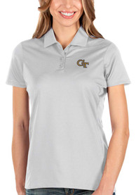 GA Tech Yellow Jackets Womens Antigua Balance Polo Shirt - White