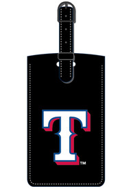 Texas Rangers Black Leather Luggage Tag - Black