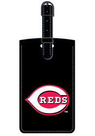 Cincinnati Reds Black Leather Luggage Tag - Black