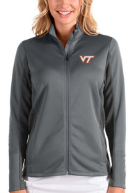 Virginia Tech Hokies Womens Antigua Passage Medium Weight Jacket - Grey