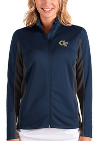 GA Tech Yellow Jackets Womens Antigua Passage Medium Weight Jacket - Navy Blue