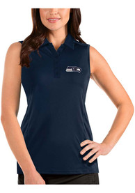 Seattle Seahawks Womens Antigua Sleeveless Tribute Tank Top - Navy Blue