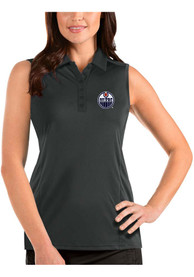 Edmonton Oilers Womens Antigua Sleeveless Tribute Tank Top - Grey