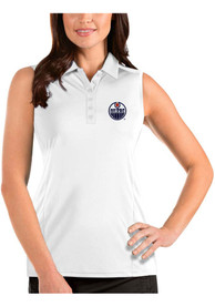 Edmonton Oilers Womens Antigua Sleeveless Tribute Tank Top - White
